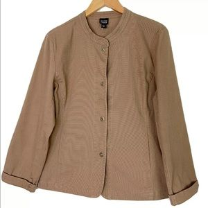 Eileen Fisher Collarless Tan Snap Jacket Large L